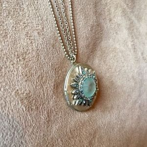 Vintage Locket Necklace with Matching Earrings